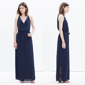 Madewell Navy Blue Tassel Tie Maxi Dress 6
